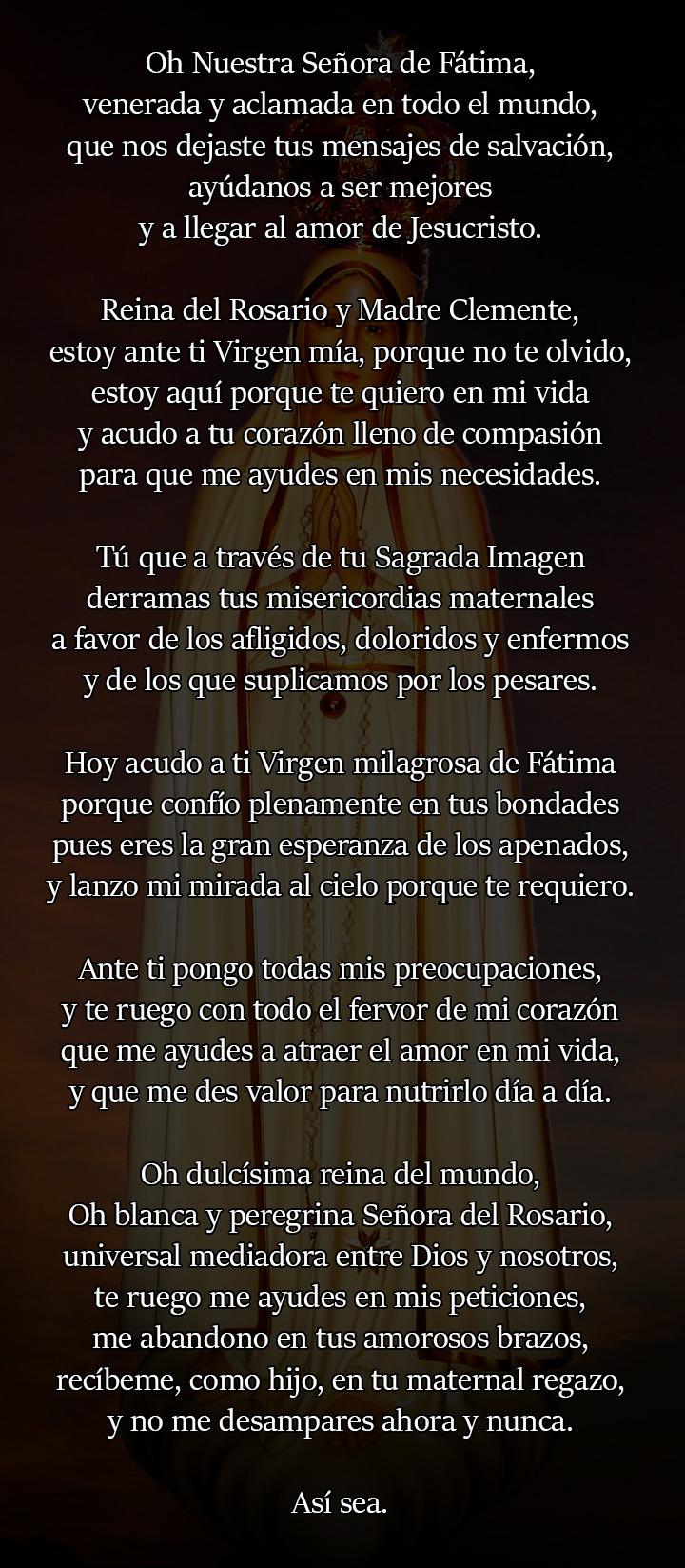Oración a la Virgen de Fátima para el amor