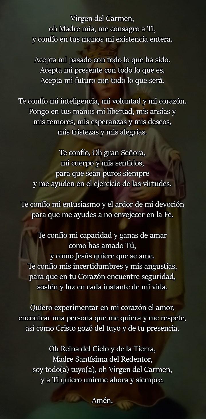 Oración a Nuestra Señora del Carmen para el amor