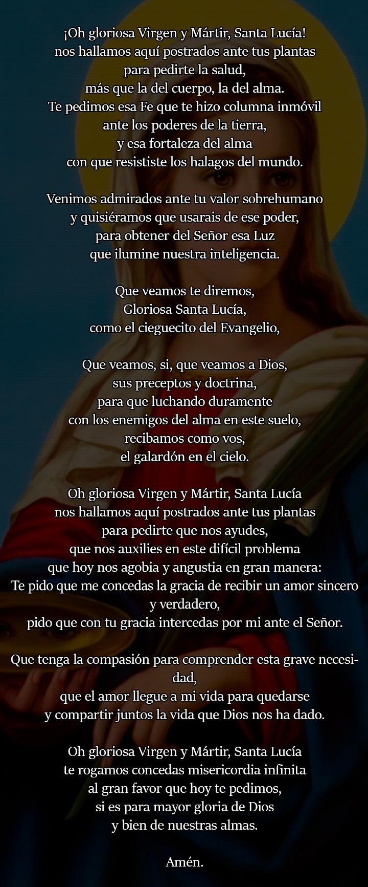 Oración de Santa Lucía para amarrar a una mujer